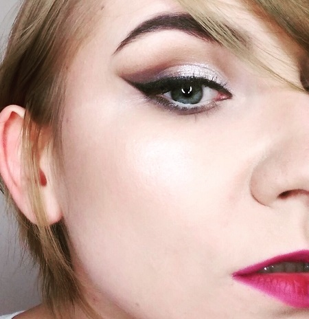 Burgundy red lipstick makeup